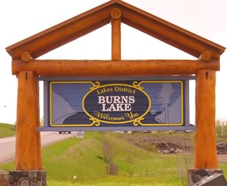 Welcome road sign to Lakes District and Burns Lake