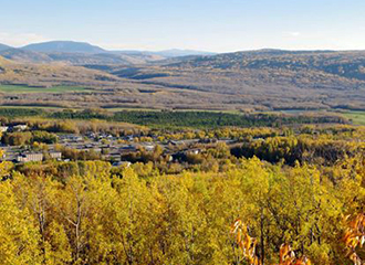 View of Chetwynd from Mount Baldy in the fall