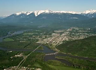 Aerial view of Terrace, BC